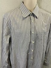 Canali Made In Italy Long Sleeve Striped Mens Dress Shirt