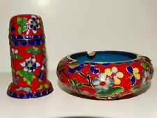 Matching Cloisonne Ashtray & Match holder/Tobacco Jar? Red Blue Yellow Flowers