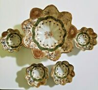 Nippon Footed Gold Gilded Berry Bowl Set 5 pieces Hand Painted Moriage