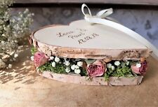 Hochzeit Ringkissen Ringhalter Herz Mille Fleurs gestapelt groß mit Namen