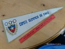 Rare Vintage Comite Olimpico De Chile pennant flag Chilean Olympic Committee