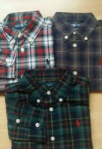 Ralph Lauren Boys Check shirt size 24M LS Small Pony Red Navy various styles New