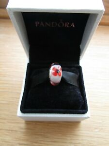 Pandora Poppy Tribute Glass Murano Bead Charm 791636 Comes with Pandora Pouch