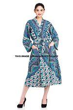 Indian Cotton Elephant Mandala Women Bathrobe Kimono Casual Dressing Bride Gown
