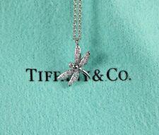 $1450 Tiffany 18k White Gold Round Diamond Mini Dragonfly Pendant Chain Necklace