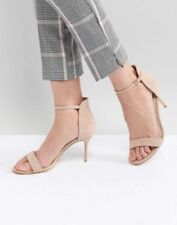 100% Leather Sandals Patternless Slim Heels for Women