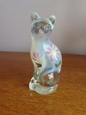 Fenton Stylised Floral Glass Cat Figurine