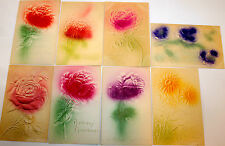 8 Vtg  Heavily Embossed Floral Overspray Postcards Birthday & Best Wishes