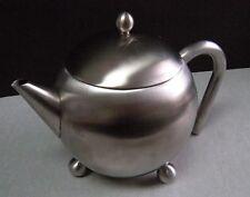 UNIQUE Vintage  Footed Aluminum Teapot w/ Strainer Insert & Aluminum Handle