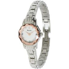 BULOVA ANALOG WHITE MOP DIAL DIAMOND FACETED ST.STEEL WOMEN'S WATCH 96P130 NEW