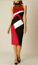 Karen Millen High Neck Black Red Tan White Wiggle Pencil Occasion Dress UK 6