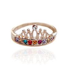 Shinny Crystal Women Rhinestone Crown Princess Golden Finger Ring