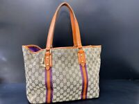 AUTH GUCCI GG Pattern Sherry Shoulder Tote Bag Canvas Leather charm E-1110