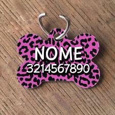 Medaglietta PERSONALIZZATA cane forma di osso NOME telefono leopardata rosa
