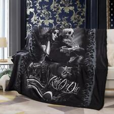 Beauty Skull Motorcycle Velvet Plush Throw Blanket Sherpa Bedding Thin Quilt