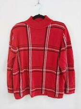 Alia 90's Womens Sz Large Sweater Pullover Red Check Casual Christmas High Neck