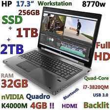 """(17.3"""" 3D-Design FHD) HP 8770W i7-QUAD (BD-R 256GB-SSD+1TB+2TB 32GB) K4000M-4GB"""