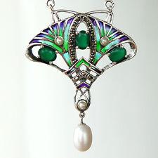 C156  Collier Style Art Nouveau Argent Massif 925 Perles & Emeraudes& Marcasites