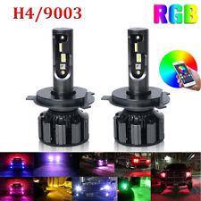 RGB H4 9003 Colorful LED Headlight Kit Bulb 120W APP Bluetooth Control Lamp Pair