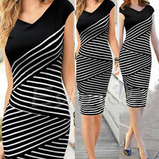 Womens Striped Party Wear To Work Business Cocktail Sheath Bodycon Pencil Dress