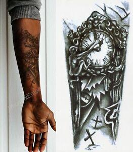 Temporary Tattoo Black Gothic Clock Fake Body Art Sticker Waterproof Mens Ladies