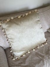 Decorative silk pillow, gold with tufts and fringing, perfect condition