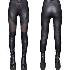 Lip Service Mesh Panel Stretch Womens Matte Faux Leather Legging Pants Black NEW