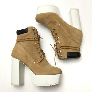 Shellys London Womens Tan Wheat Suede Lace Up Platform Work Boots 7.5
