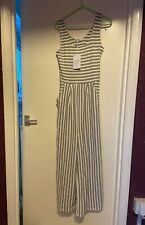 SWEEWE White Grey Stripe Ribbed Crop Culotte Strappy Jumpsuit Stretch S/M NWT