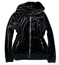 BCBGMAXAZRIA Womens Black Velour Hoodie Jacket XL Embellished Rhinestones