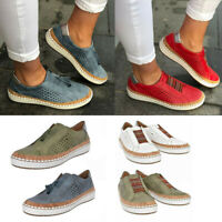 Women's Casual Hollow-Out Breathable Round Toe Slip On Flat Sneakers Shoes Size