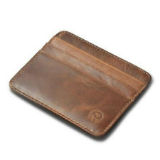 MENS GENUINE LEATHER SMALL ID CREDIT CARD WALLET HOLDER SLIM POCKET CASE BROWN