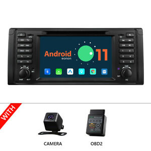"""CAM+OBD+ Android Auto 11 7"""" Car Radio GPS Stereo DVD Player For BMW 5 Series E39"""