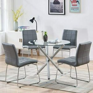 5 Pcs Dining Table Set Tempered Glass Table & 4 Chairs for Kitchen Dining Room