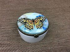 Lovely Ceramic Little Trinket Pot With Butterfly Design And Glass Top ,Cream Pot