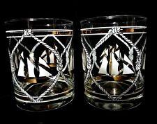 """Vtg Midcentury Barware (2) Glasses Ships Gold White 4.25"""" Very Good"""