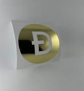 "DogeCoin Crypto5""x5"" Vinyl Decal Chrome Gold - Bumper Sticker, Wall Decor"