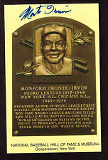 MONTE IRVIN SIGNED Hall Fame Plaque HOF Yellow  Postcard Autographed  COA