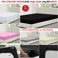 Extra Deep Fitted Bed Sheets Cover Quilt Bedroom MATTRESS SINGLE DOUBLE KING UK