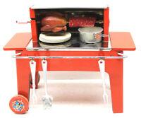 Very Rare 1950s Fuchs Mfz. Tin Litho Backyard Grill Toy+Utensils+Turkey+Roast!!!