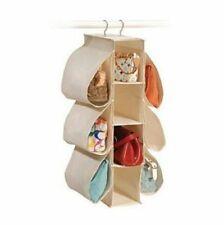Hanging Handbag Shoe Organizer Closet Systems Save Space Canvas Natural