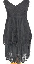 Sue Wong Womens 2 Dress Little Black tiered Flapper Lace Embroidered Textured
