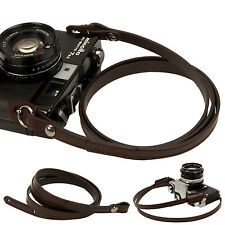 Dark brown whole leather Camera neck shoulder strap for Film SLR DSLR RF Leica