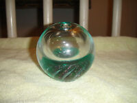 Paperweight Art Glass-Signed Maytum Studio 1993-Green Color W/Opening On Top