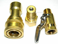 Carpet Cleaning M/F Brass Quick Disconnect, Mini Shut-Off Valve for Wands, Hoses
