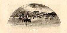Stampa antica Veduta di SMIRNE SMYRNA dal mare Turchia Turkey 1892 Old Print