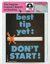 Surgeon General's Report on Smoking Tobacco Warnings 1980 STORY OF AMERICA CARD