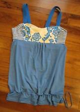 LULULEMON RUN BACK ON TRACK TANK SIZE 6 LACEOFLAGE BLUE and polar cream drawcord