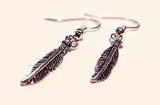 Antique Silver Feather Earrings-Vintage Hippy Bohemian-Boho Jewelry-Festival