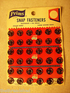Prims Vintage Snap Fasteners 36Ct Rustproof All Brass No 2s Heavier Material 467